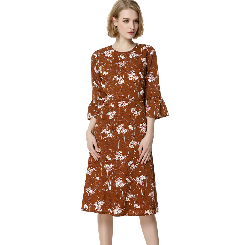 Caramel Floral A Line Dress 2736 - MissFinchNYC, modest, modest clothing, trendy modest clothing, modest apparel, modest fashion, tznius clothing, tzinuis fashion