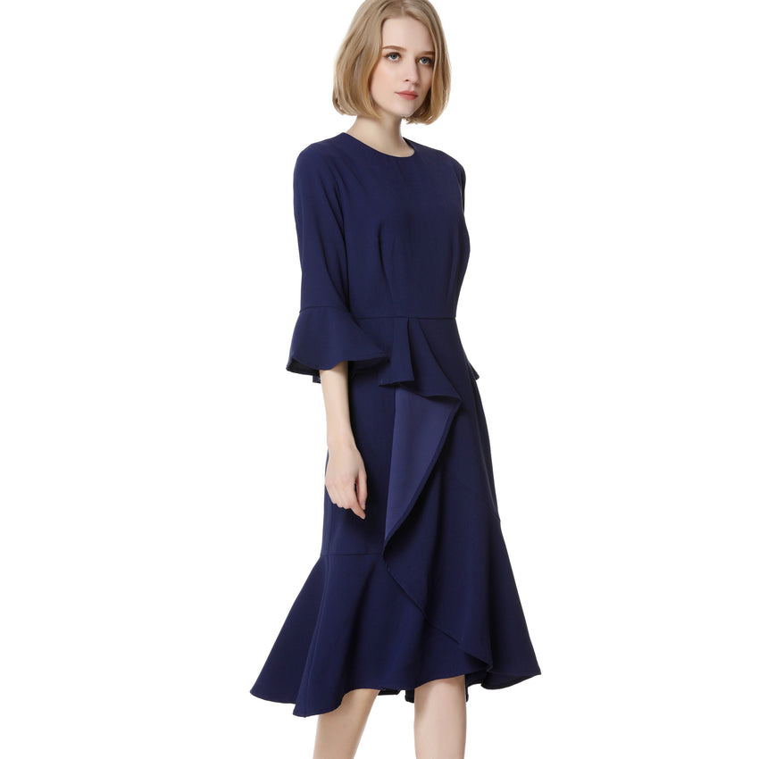 Navy Cascading Ruffle Dress 2738 - MissFinchNYC, modest, modest clothing, trendy modest clothing, modest apparel, modest fashion, tznius clothing, tzinuis fashion