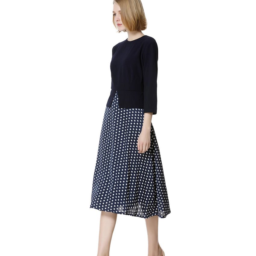 Faux 2 Piece Navy Polka Dot Dress 2739 - MissFinchNYC, modest, modest clothing, trendy modest clothing, modest apparel, modest fashion, tznius clothing, tzinuis fashion