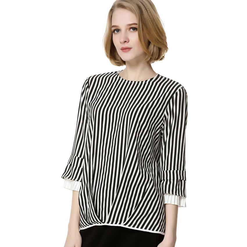 Striped Blouse with Pleat Details 2742 - MissFinchNYC, modest, modest clothing, trendy modest clothing, modest apparel, modest fashion, tznius clothing, tzinuis fashion