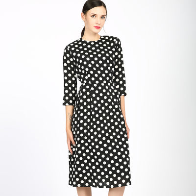 Retro Polka Dot Dress 2746 - MissFinchNYC, modest, modest clothing, trendy modest clothing, modest apparel, modest fashion, tznius clothing, tzinuis fashion