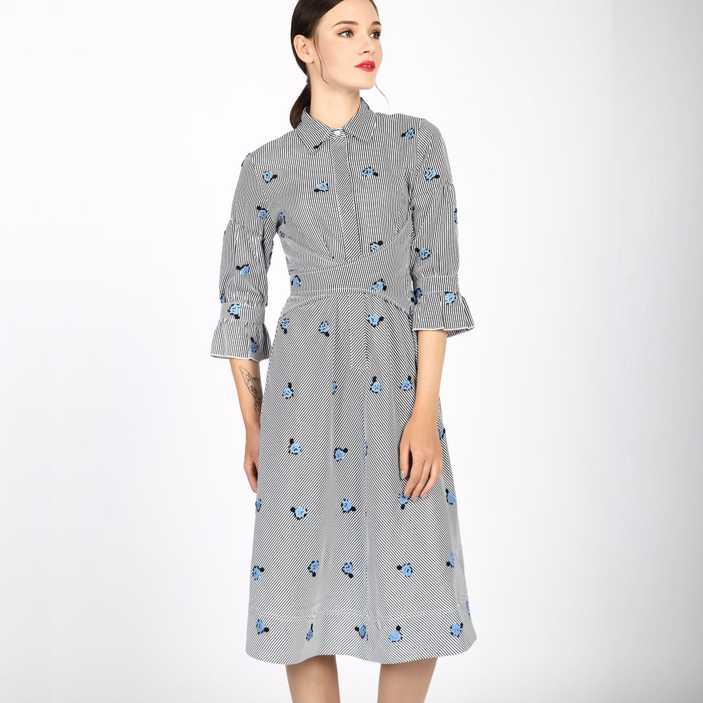 d36216bd16 Miss Finch NYC Modest Embroidered Cotton Wrap Dress 2747B – MissFinchNYC