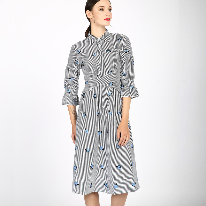 Embroidered Cotton Wrap Dress 2747B - MissFinchNYC, modest, modest clothing, trendy modest clothing, modest apparel, modest fashion, tznius clothing, tzinuis fashion