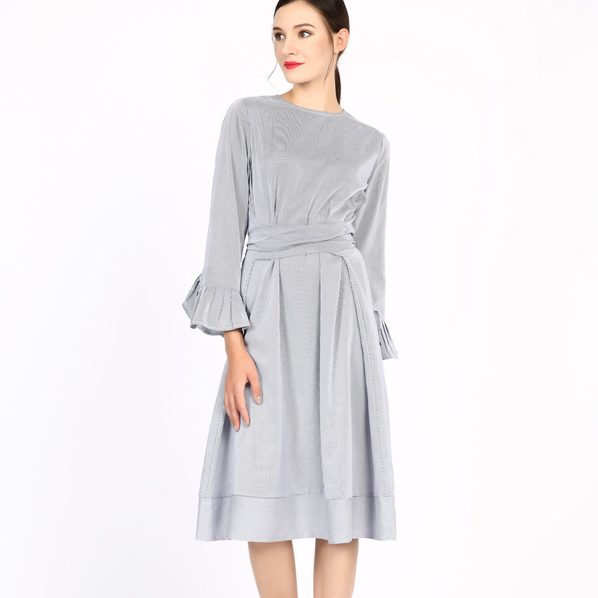 Cotton Striped Bell Sleeve Dress 2755 - MissFinchNYC, modest, modest clothing, trendy modest clothing, modest apparel, modest fashion, tznius clothing, tzinuis fashion