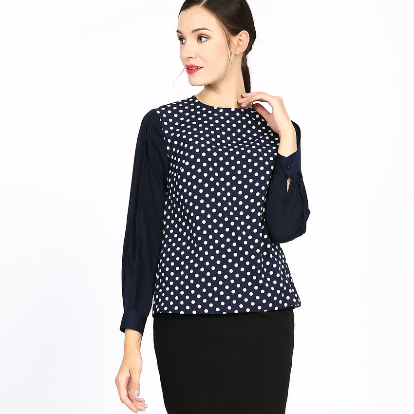 Contrast Tone on Tone Polka Dot Top 2759N - MissFinchNYC, modest, modest clothing, trendy modest clothing, modest apparel, modest fashion, tznius clothing, tzinuis fashion