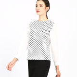 Tone on Tone Polka Dot Top 2759W - MissFinchNYC, modest, modest clothing, trendy modest clothing, modest apparel, modest fashion, tznius clothing, tzinuis fashion