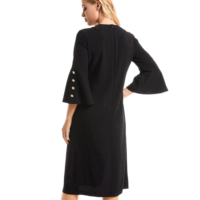 Bell Sleeve Black Dress 2770 - MissFinchNYC, modest, modest clothing, trendy modest clothing, modest apparel, modest fashion, tznius clothing, tzinuis fashion