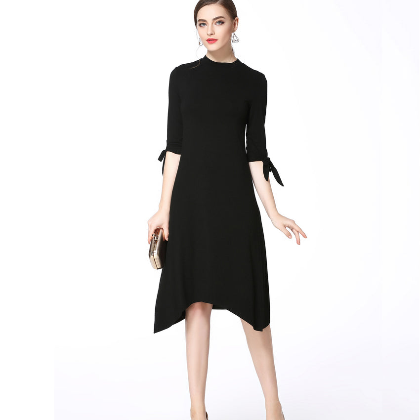 Black Bow Tie Sleeve Dress 2782 - MissFinchNYC, modest, modest clothing, trendy modest clothing, modest apparel, modest fashion, tznius clothing, tzinuis fashion