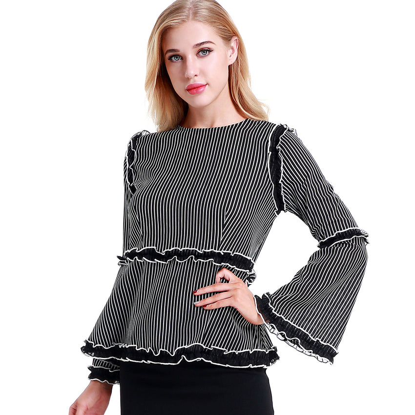 Striped Ruffle Blouse 2783B - MissFinchNYC