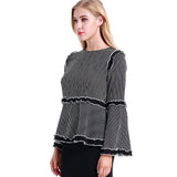 Striped Ruffle Blouse 2783B - MissFinchNYC, modest, modest clothing, trendy modest clothing, modest apparel, modest fashion, tznius clothing, tzinuis fashion