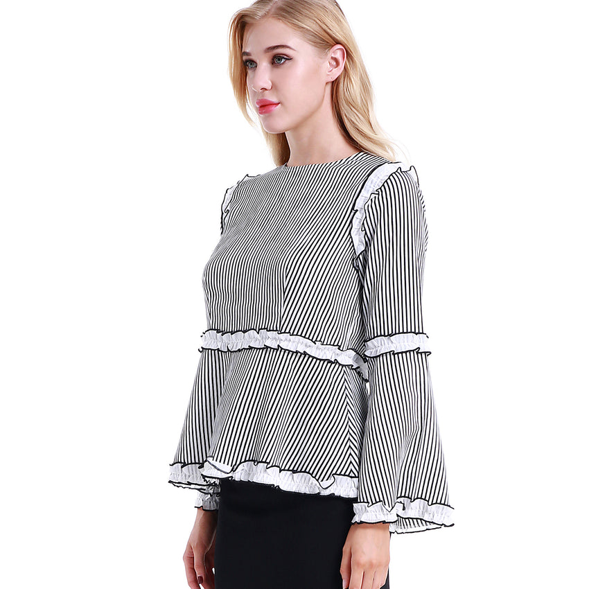 Striped Ruffle Blouse 2783W - MissFinchNYC, modest, modest clothing, trendy modest clothing, modest apparel, modest fashion, tznius clothing, tzinuis fashion