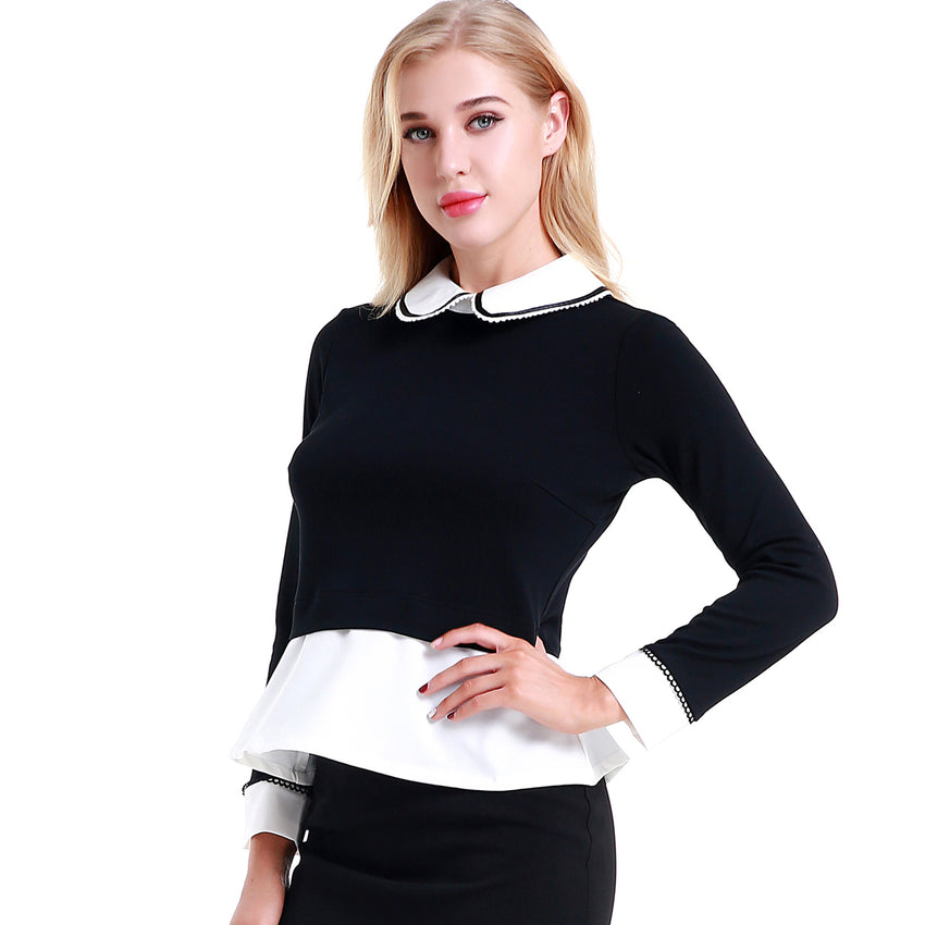 Detailed Collar Top with Contrast Fabric 2784 - MissFinchNYC