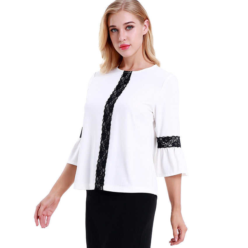 Center Front and Bell Sleeve Trim Blouse 2786 - MissFinchNYC