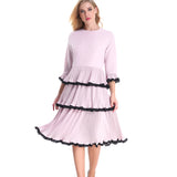 Pink and Black Tier Dress 2789 - MissFinchNYC