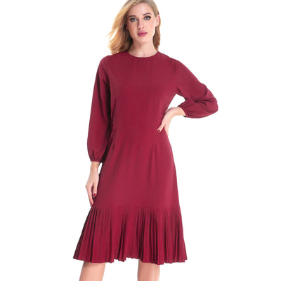 Kick Pleat Lantern Dress 2791 - MissFinchNYC, modest, modest clothing, trendy modest clothing, modest apparel, modest fashion, tznius clothing, tzinuis fashion