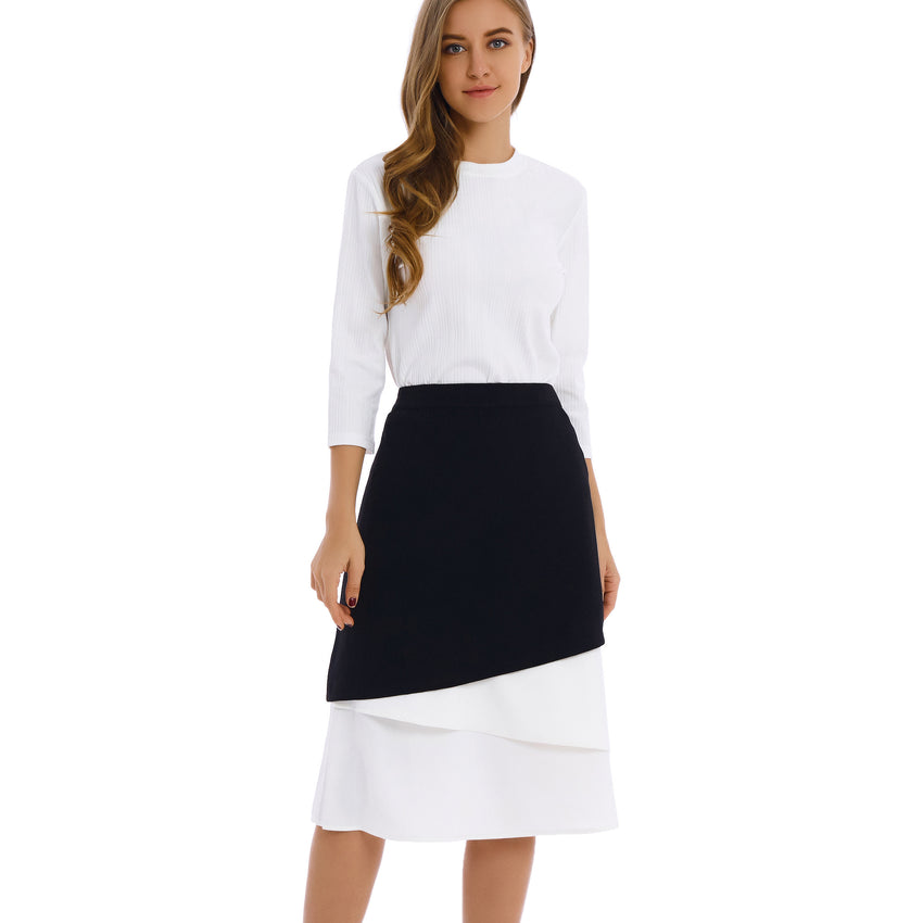 Contrast White Fabric Midi Skirt 2794W - MissFinchNYC, modest, modest clothing, trendy modest clothing, modest apparel, modest fashion, tznius clothing, tzinuis fashion