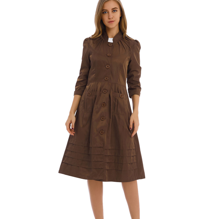 Coat Dress Khaki 2796K - MissFinchNYC, modest, modest clothing, trendy modest clothing, modest apparel, modest fashion, tznius clothing, tzinuis fashion