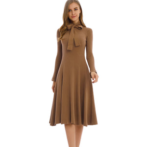 Knit Khaki Dress 2797K - MissFinchNYC, modest, modest clothing, trendy modest clothing, modest apparel, modest fashion, tznius clothing, tzinuis fashion