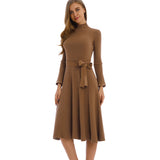 Knit Khaki Dress 2797K - MissFinchNYC
