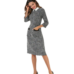Tweed Collar A Line Dress 2798 - MissFinchNYC, modest, modest clothing, trendy modest clothing, modest apparel, modest fashion, tznius clothing, tzinuis fashion