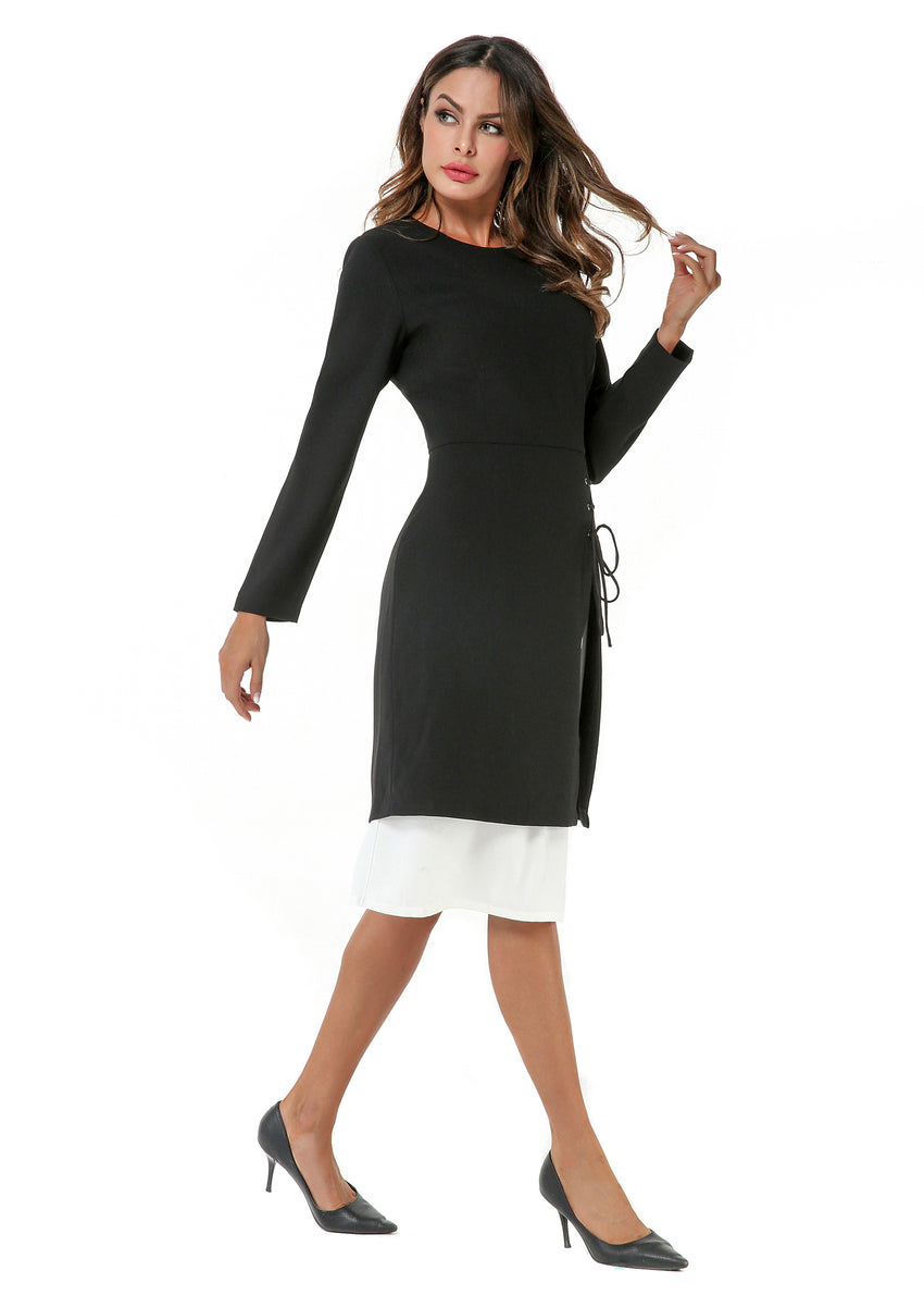 Modest Black & White Dress 2804