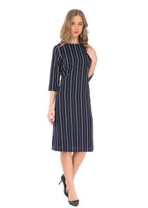 Modest 3/4 Sleeve Striped Navy Dress 2805N