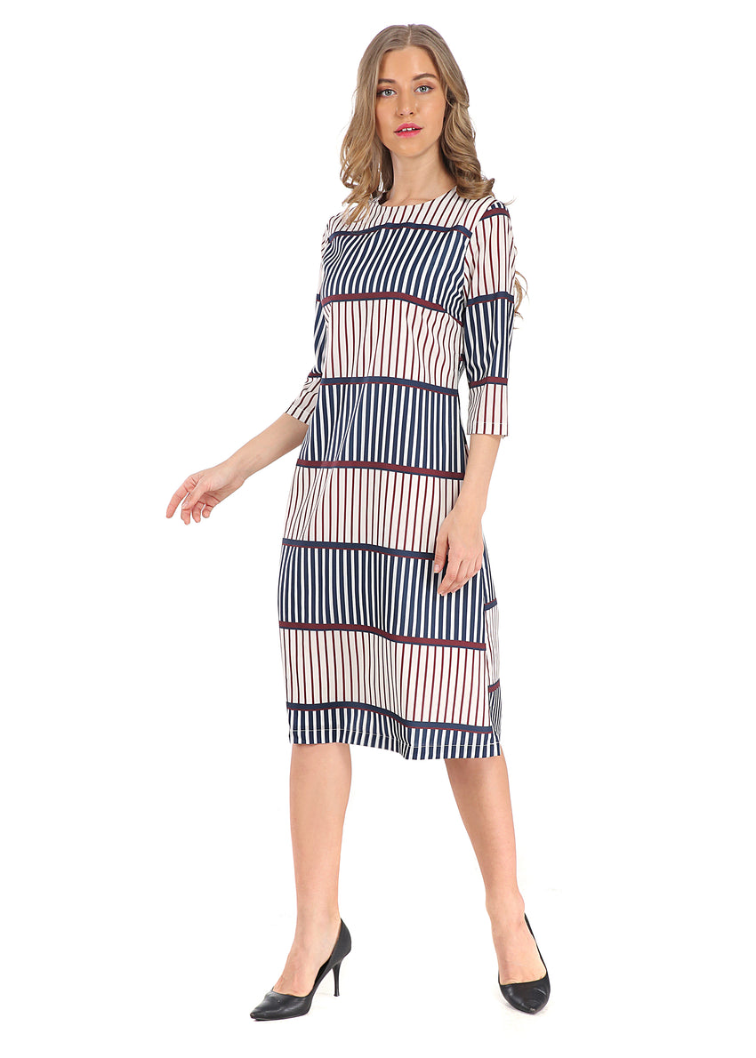 Modest 3/4 Sleeve Stripe Dress 2805S - MissFinchNYC