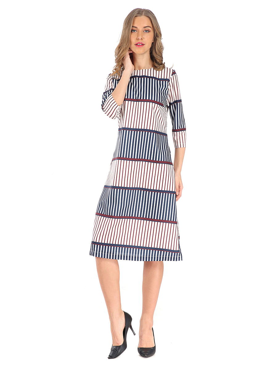 Modest 3/4 Sleeve Stripe Dress 2805S