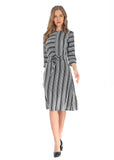 Modest 3/4 Sleeve Wrap Look Dress 2806 - MissFinchNYC