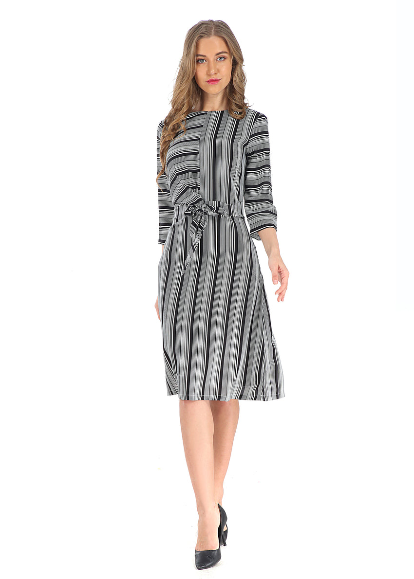 Modest 3/4 Sleeve Wrap Look Dress 2806