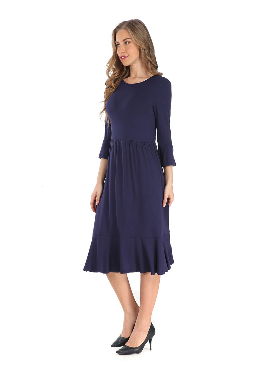 Modest Navy Casual Dress 2807N - MissFinchNYC