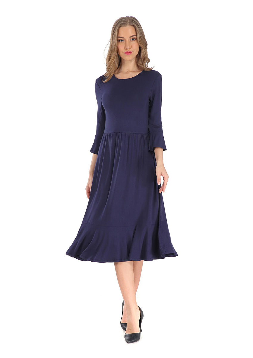 Modest Navy Casual Dress 2807N