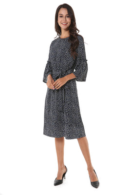 Bell Sleeve Self Belt Small Print Modest Dress 2808
