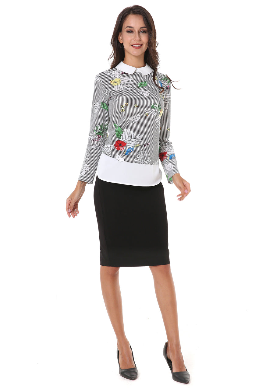 Strip Print Modest Top With Contrast Collar and Layer 2812