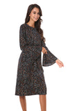 Long Bell Sleeve Small Print Modest Dress 2815 - MissFinchNYC