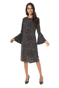 Long Bell Sleeve Small Print Modest Dress 2815