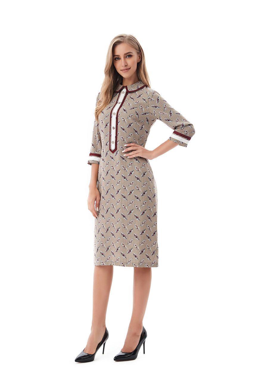 Modest Print Dress with Detailed Trim 2816