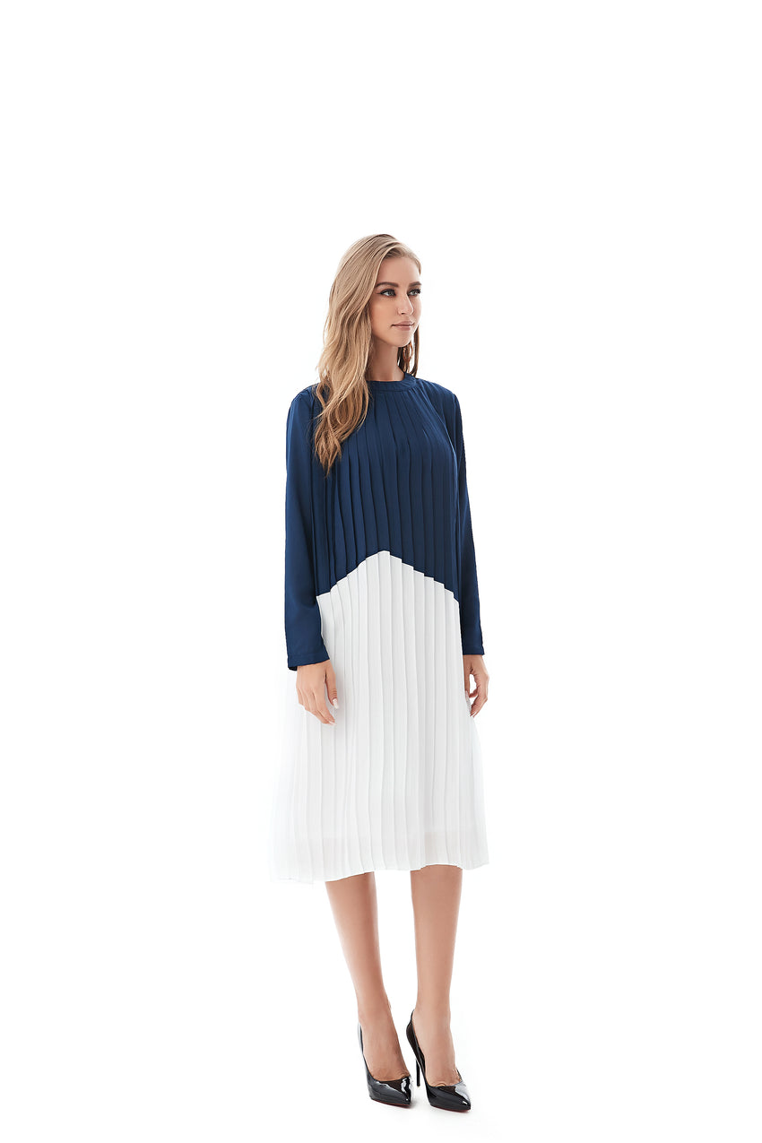 Navy & White Modest Pleated Dress 2819