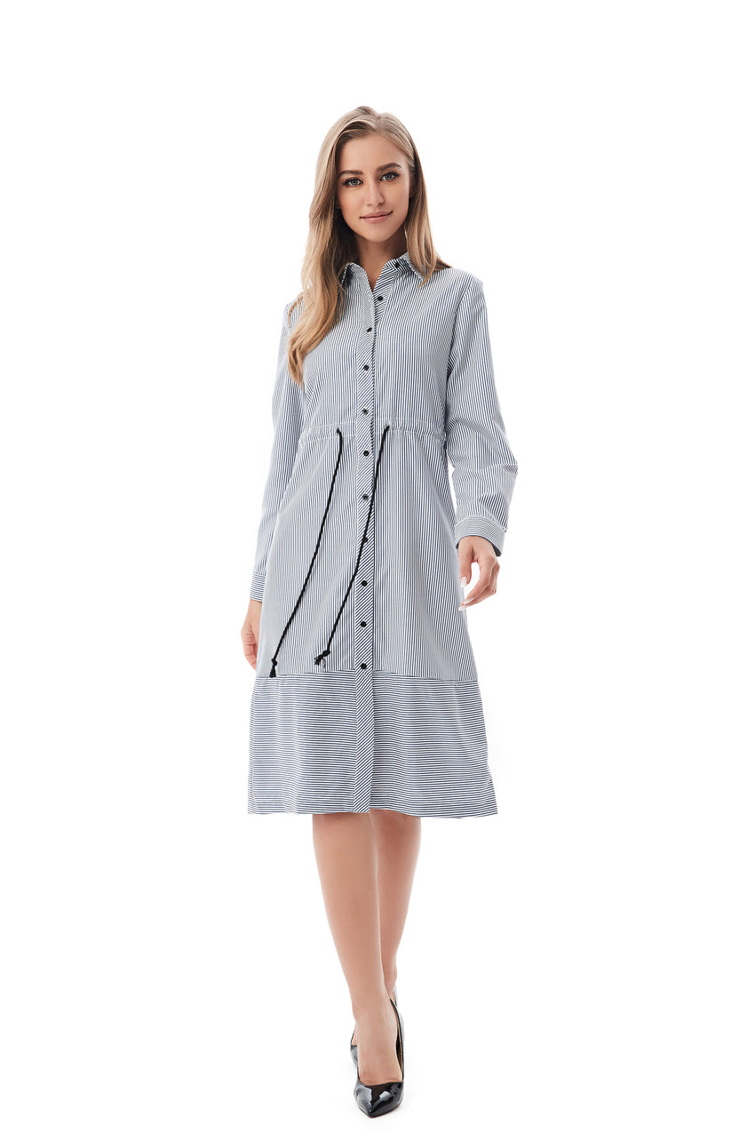 d0ff14867b Navy White Modest Striped Shirt Dress With Drawstring waist 2820 ...