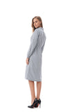 Navy/White Modest Striped Shirt Dress With Drawstring waist 2820