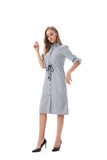 Navy/White Modest Striped Shirt Dress With Drawstring waist 2820 - MissFinchNYC