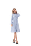 Modest Blue/White Striped Shirt Dress 2822B - MissFinchNYC