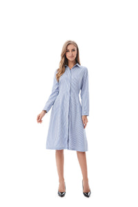 Modest Blue/White Striped Shirt Dress 2822B