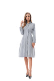 Modest Navy/White Striped Shirt Dress 2822N - MissFinchNYC