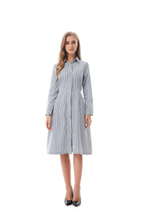 Modest Navy/White Striped Shirt Dress 2822N
