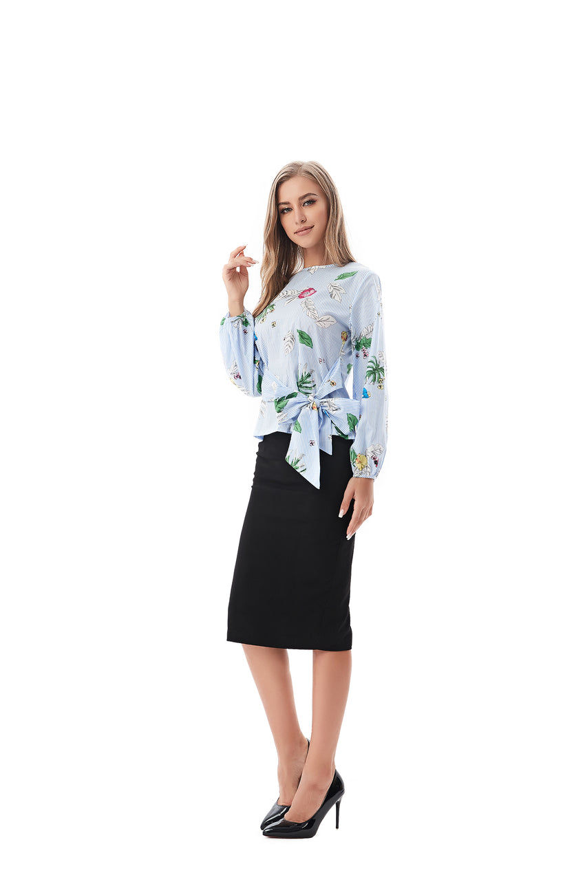 Modest Blue Striped/ Floral Top 2823