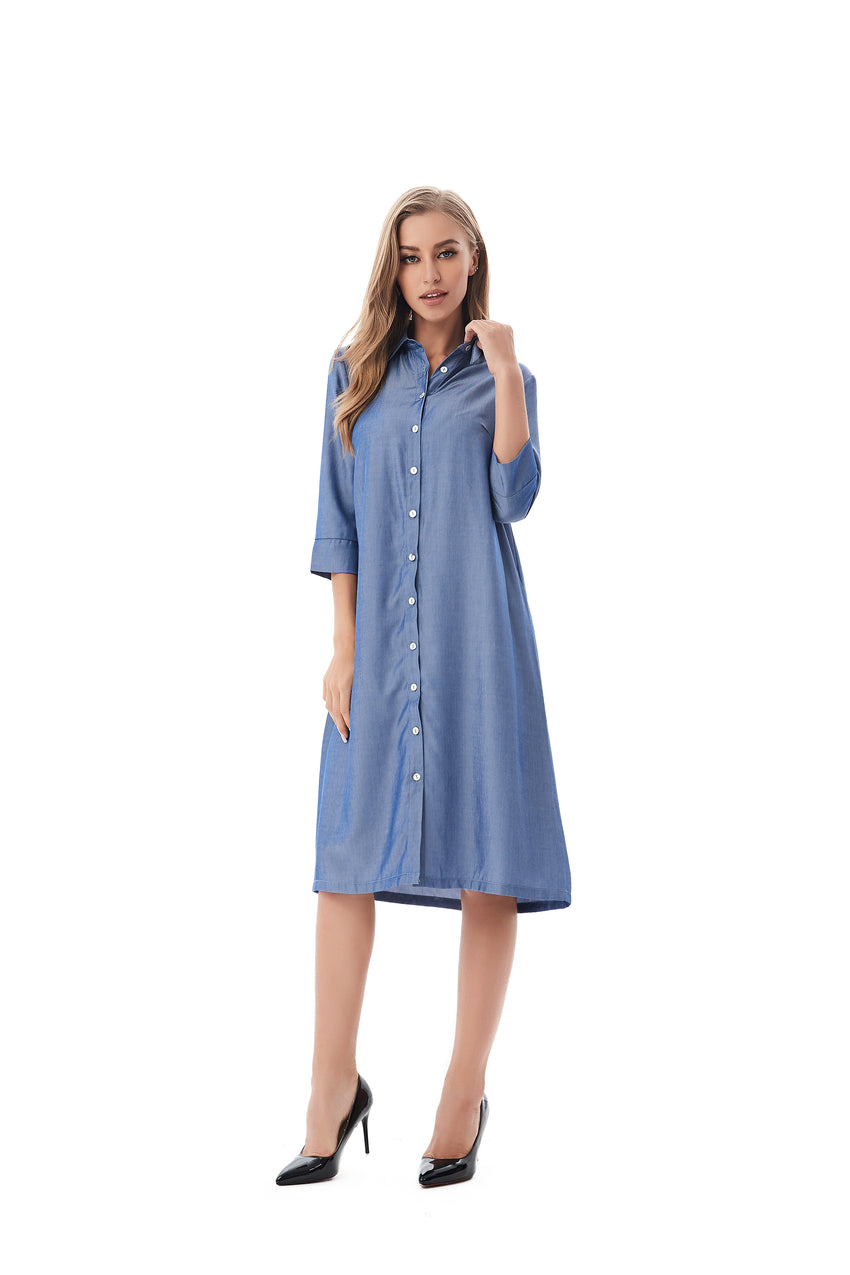 Modest Denim Look Shirt Dress 2824 - MissFinchNYC