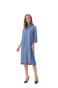 Modest Denim Look Shirt Dress 2824