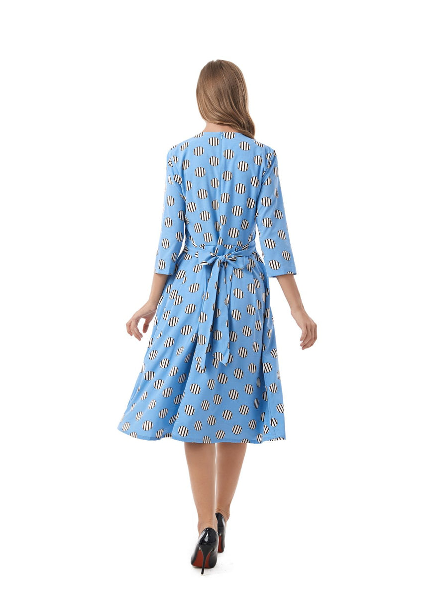 Self Belt Modest Blue Print Dress 2825 - MissFinchNYC