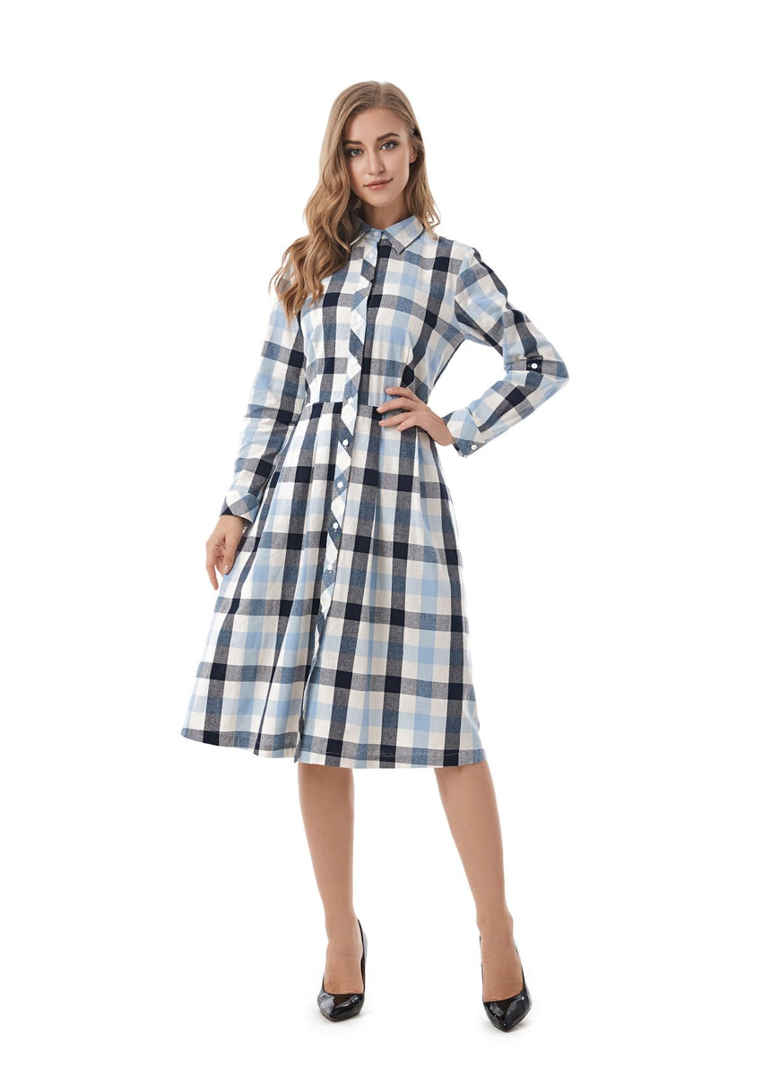 Plaid Modest Gingham Shirt Dress 2827 - MissFinchNYC